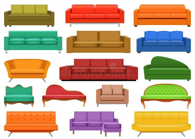 Kanapy krzesła leżanki mockup izbowy set, realistyczny styl royalty ilustracja