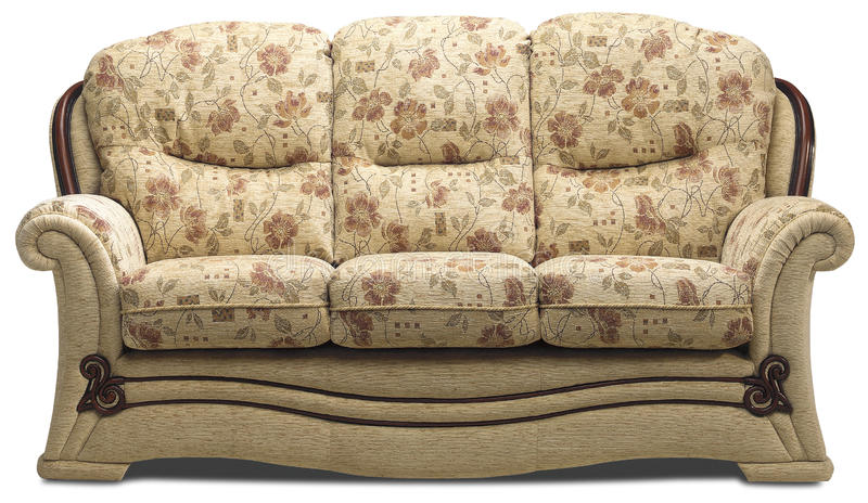 Kanapy trzy seater na bielu obrazy royalty free