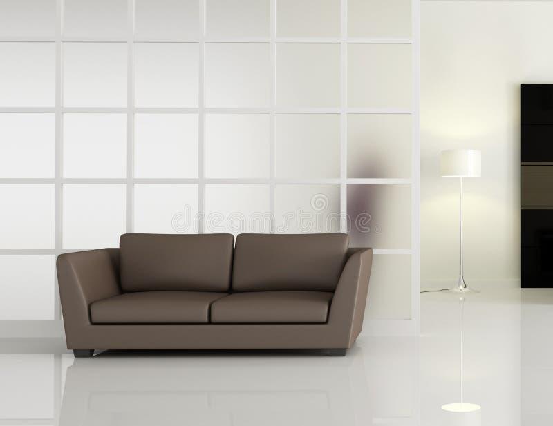 kanapy wewnętrznego leathe nowożytna kanapa ilustracja wektor