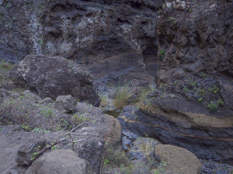 Kanarische Insel, Teneriffa, Schlucht Masca-Tal mit Felsen, großes ston lizenzfreie stockbilder