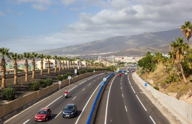 Kanarische Inseln Spanien der Autobahn-TF-1 Teneriffa stockbilder