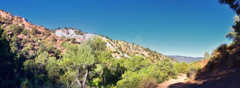 Kanarraville nedgångar, sikter från längs den fotvandra slingan av nedgångar, ström, flod, vattenfall för sandstenklippabildande  royaltyfri foto