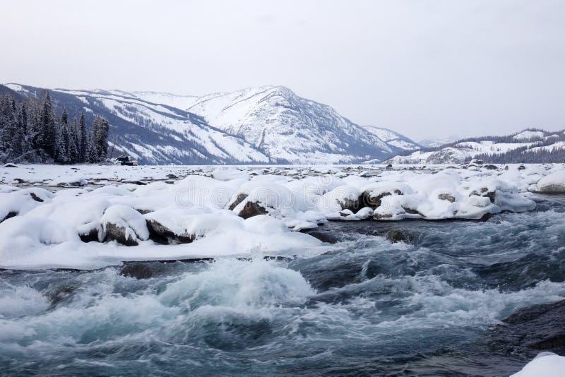 Kanas Lake in winter royalty free stock images
