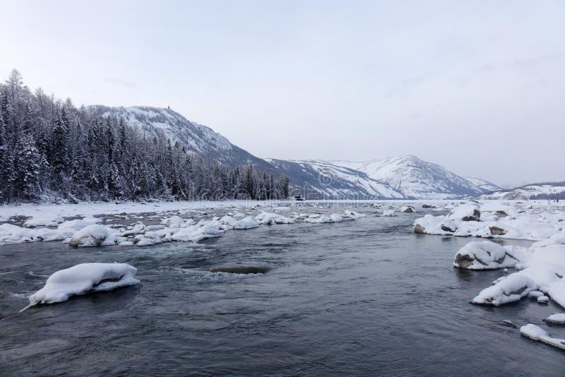 Kanas Lake in winter stock photos
