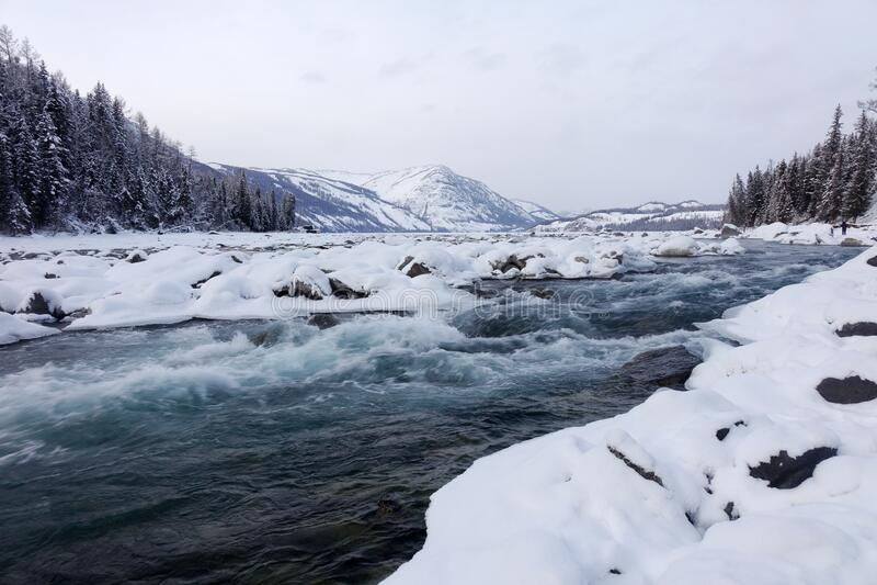 Kanas Lake in winter stock photography