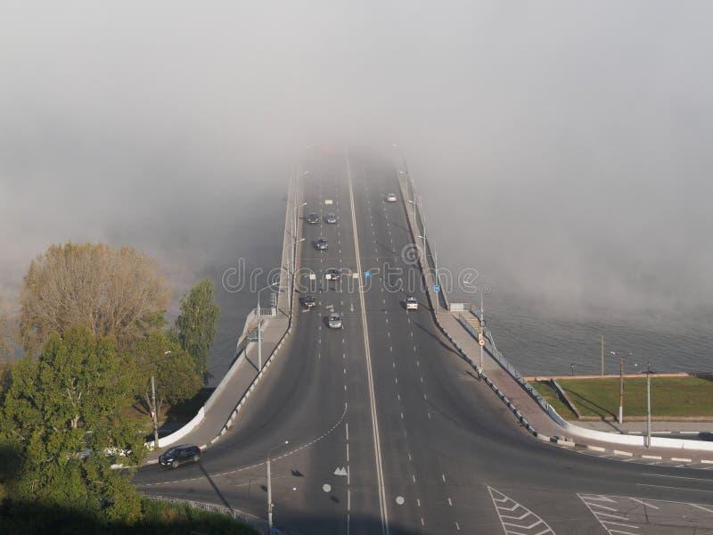 Kanavinskiy bro i dimma royaltyfri fotografi
