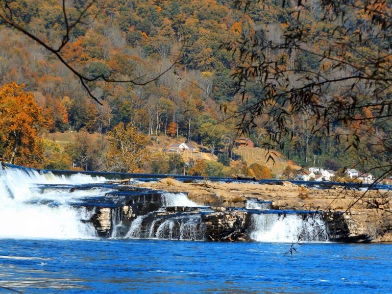 Kanawha nedgångar i West Virginia arkivbilder
