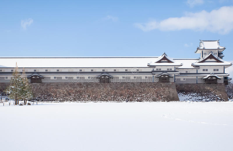 Kanazawa Castle. Park with snow in winter season royalty free stock images