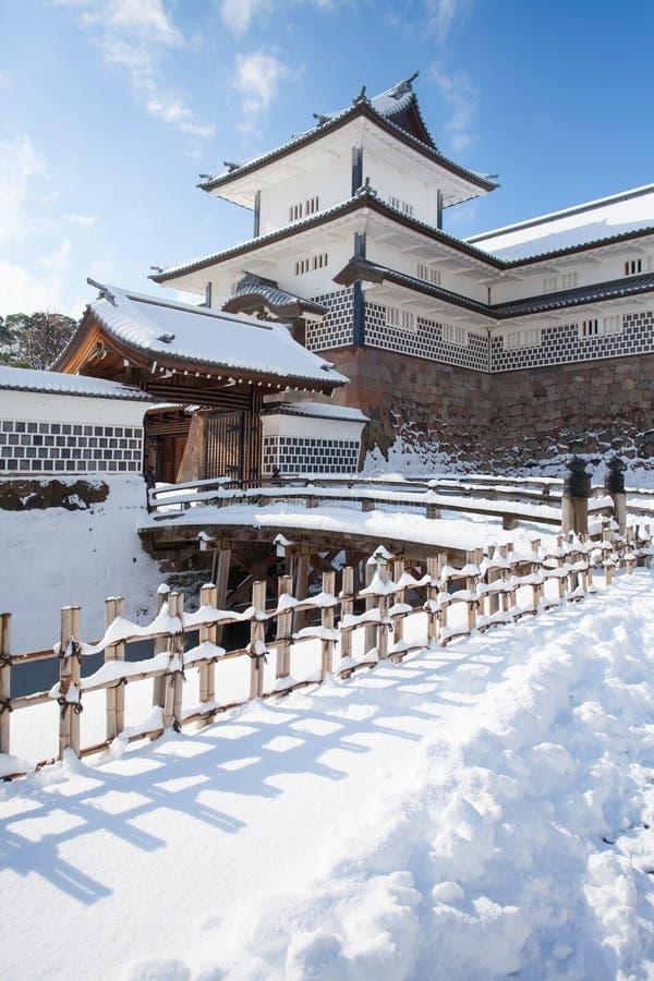 Kanazawa Castle Park. With snow in winter season stock photos
