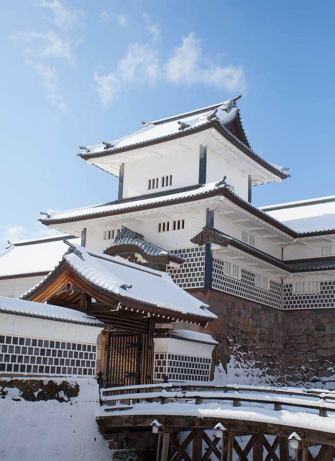 Kanazawa Castle Park. With snow in winter season stock images