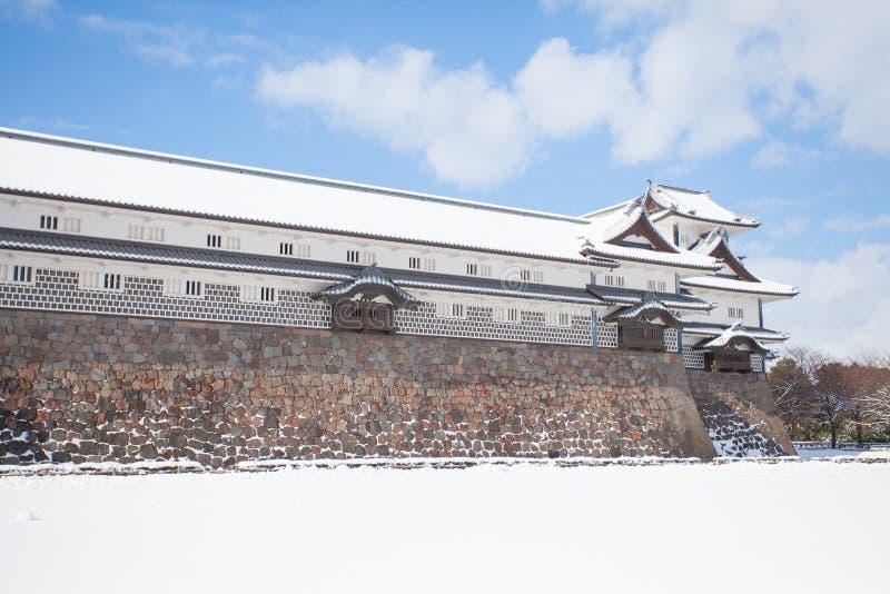 Kanazawa Castle Park. With snow in winter season stock photography