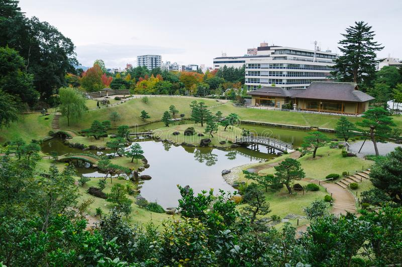 Kanazawa gardens, Japan. Gyokusen inmaru, traditional japanese garden with ponds in the city of Kanazawa, Japan stock photos