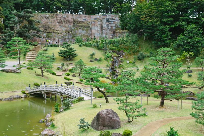 Kanazawa gardens, Japan. Gyokusen inmaru, traditional japanese garden with ponds in the city of Kanazawa, Japan stock photo