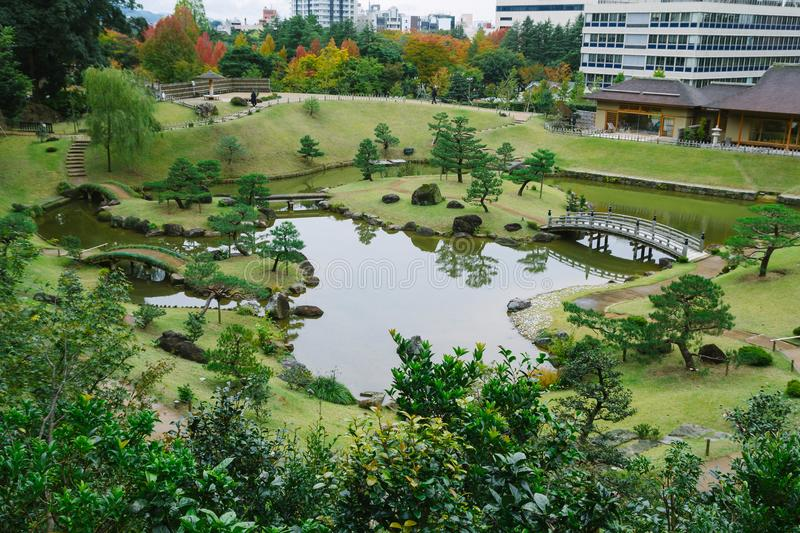 Kanazawa gardens, Japan. Gyokusen inmaru, traditional japanese garden with ponds in the city of Kanazawa, Japan royalty free stock photography