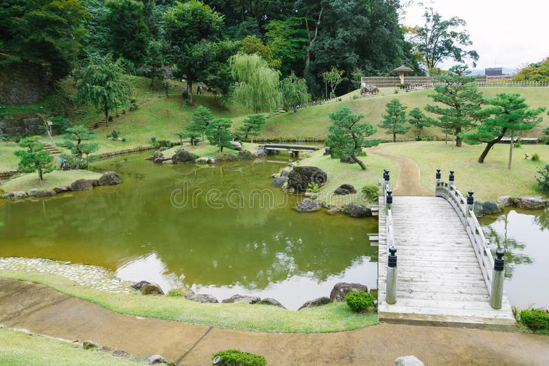 Kanazawa gardens, Japan. Gyokusen inmaru, traditional japanese garden with ponds in the city of Kanazawa, Japan stock photography