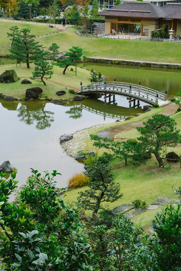 Kanazawa gardens, Japan. Gyokusen inmaru, traditional japanese garden with ponds in the city of Kanazawa, Japan royalty free stock photos