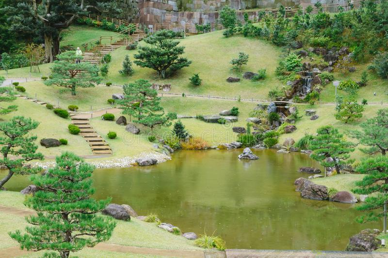 Kanazawa gardens, Japan. Gyokusen inmaru, traditional japanese garden with ponds in the city of Kanazawa, Japan royalty free stock image
