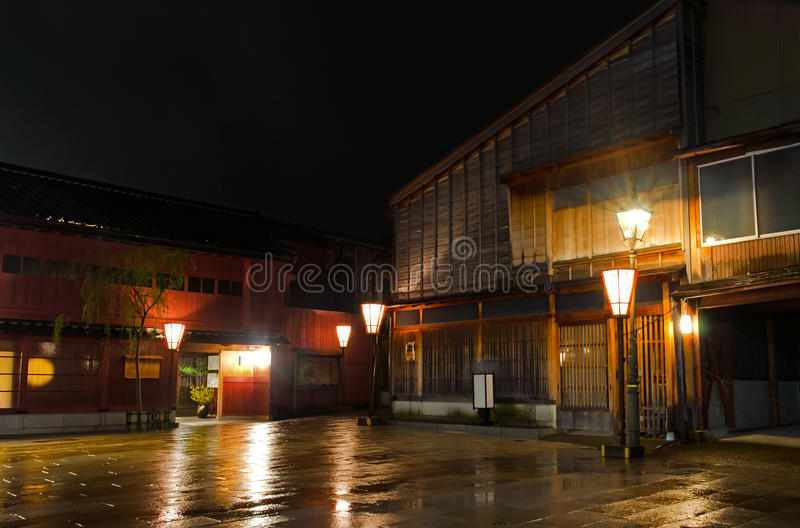 Kanazawa Higashi Area Chaya Street. The Higashi area Chaya, or teahouses, street of Kanazawa. Taken on a wet spring evening stock images