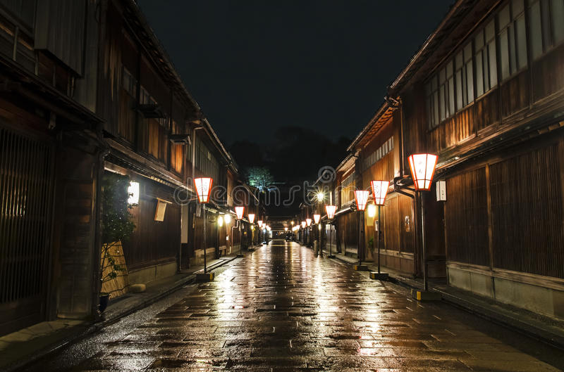 Kanazawa Higashi område Chaya Street royaltyfri bild
