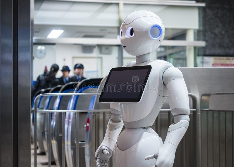 KANAZAWA, JAPÃO - 11 DE ABRIL DE 2017: Assistente do robô da pimenta com Inf imagens de stock