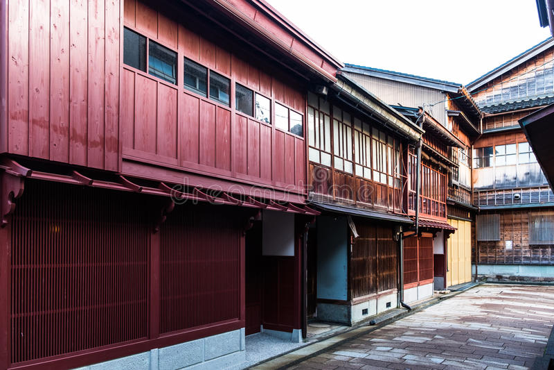 Kanazawa, Japonia historyczni gejsza domy obrazy royalty free