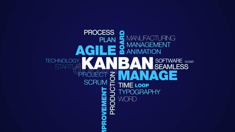 Kanban处理敏捷委员会概念交付发展改善日本给词云彩背景赋予生命的反馈流程 向量例证