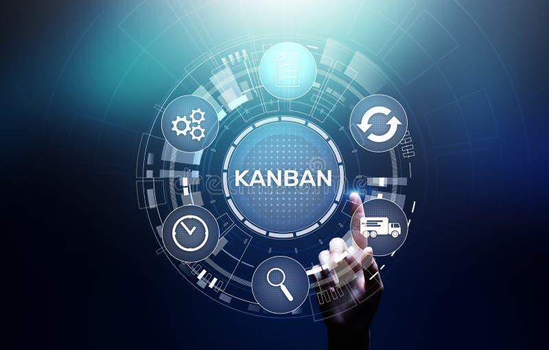 Kanban工作流程进程管理在虚屏上的系统概念 向量例证