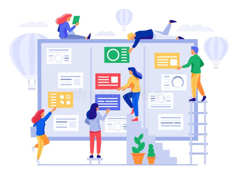 Kanban board. Agile project management, office team collaboration and projects process coherence vector illustration stock illustration