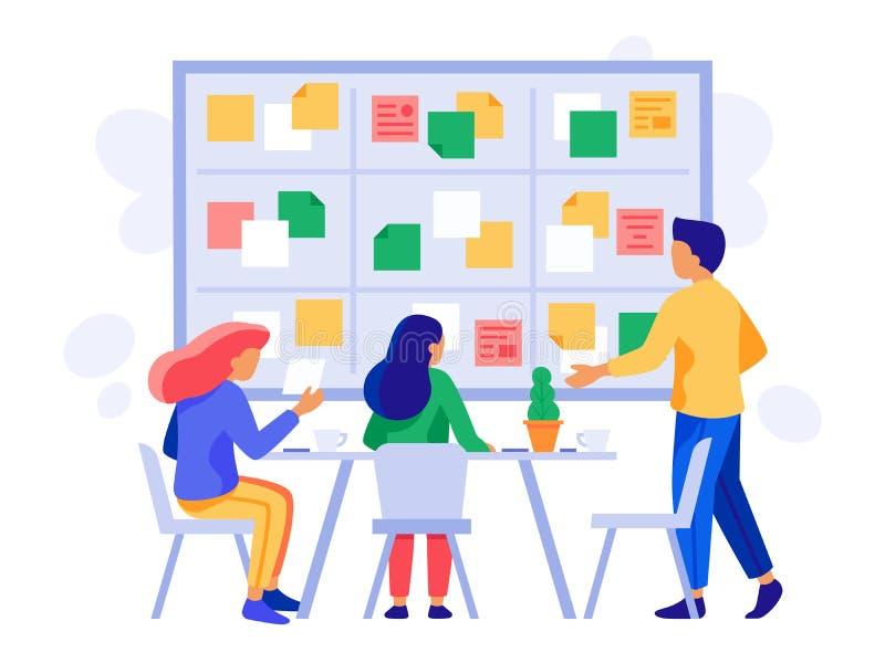 Kanban board teamwork. Briefing scheme, scrum management and business employee team planning brainstorm vector royalty free illustration