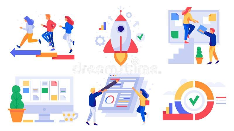 Kanban projektledning Lättrörlig utveckling, klungabräde sprintar och den framkallande teamworkledningvektorn royaltyfri illustrationer
