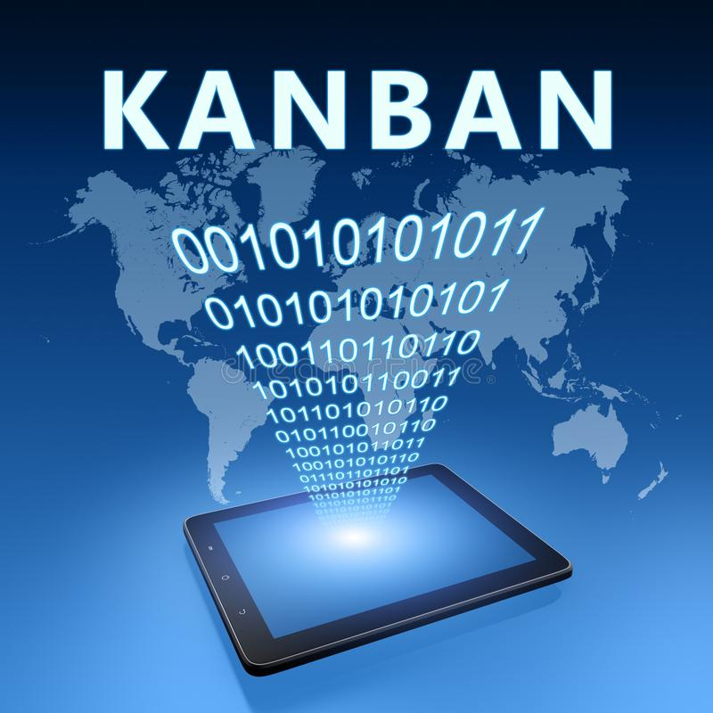 Kanban. Scheduling system for lean manufacturing and just-in-time manufacturing - text with tablet computer on blue digital world map background. 3D Render royalty free illustration