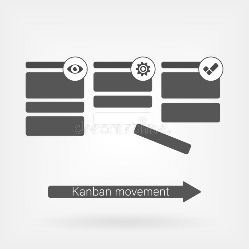 Kanban vector illustration. Lean manufacturing tool icon. movement of work concept vector illustration