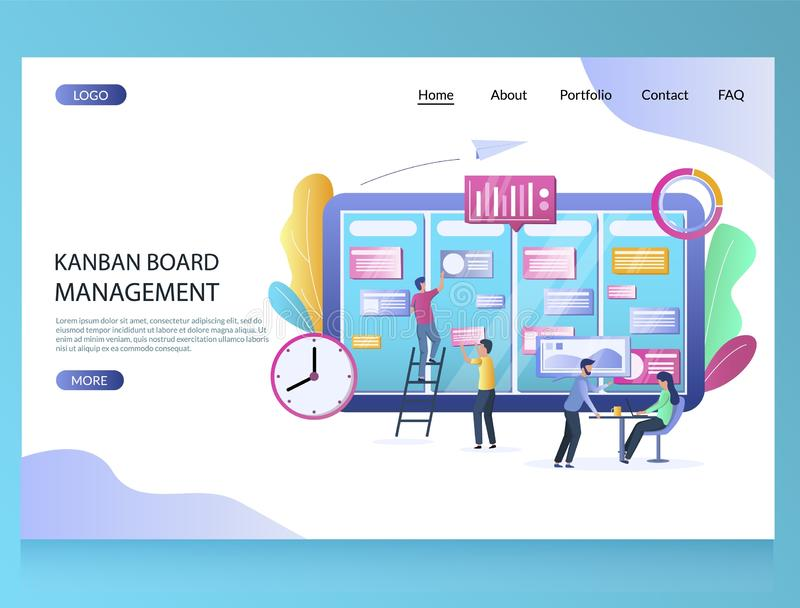 Kanban wsiada zarządzanie strony internetowej lądowania strony projekta wektorowego szablon ilustracja wektor