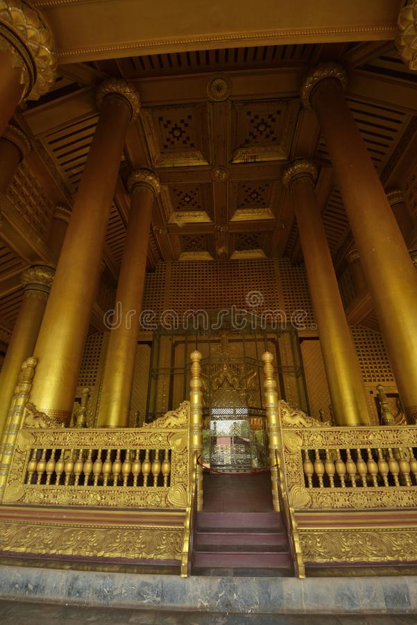Kanbawzathadi Palace stage Throne in Bago. Myanmar Yangon Kanbawzathadi Palace Throne royalty free stock images