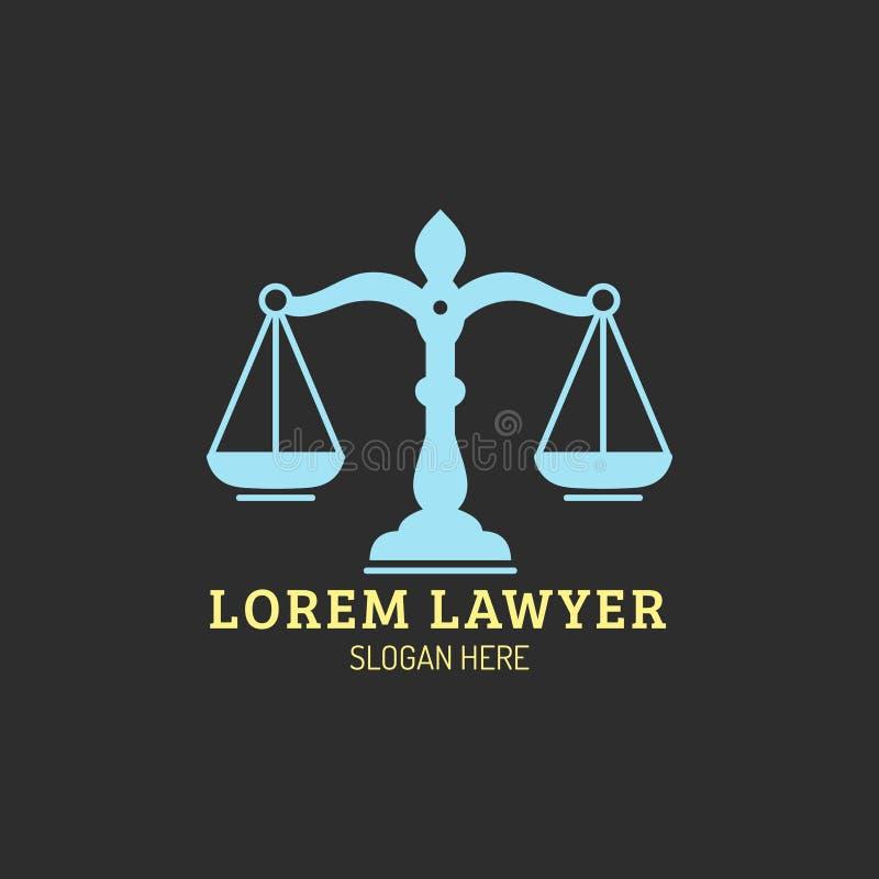 Kancelaria prawna logo z waży sprawiedliwości ilustracja Wektorowy rocznika adwokat, adwokat etykietka, jurydyczna firmowa odznak ilustracji