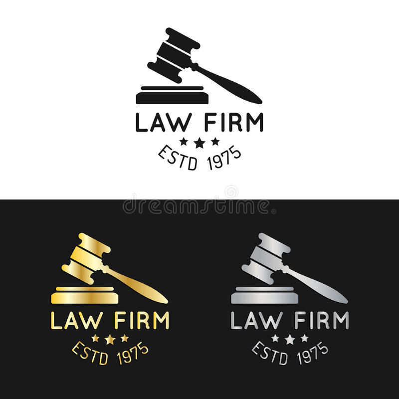 Kancelaria prawna logowie ustawiający z młoteczek ilustracją Wektorowy rocznika adwokat, adwokat etykietki, jurydyczne firmowe od ilustracji