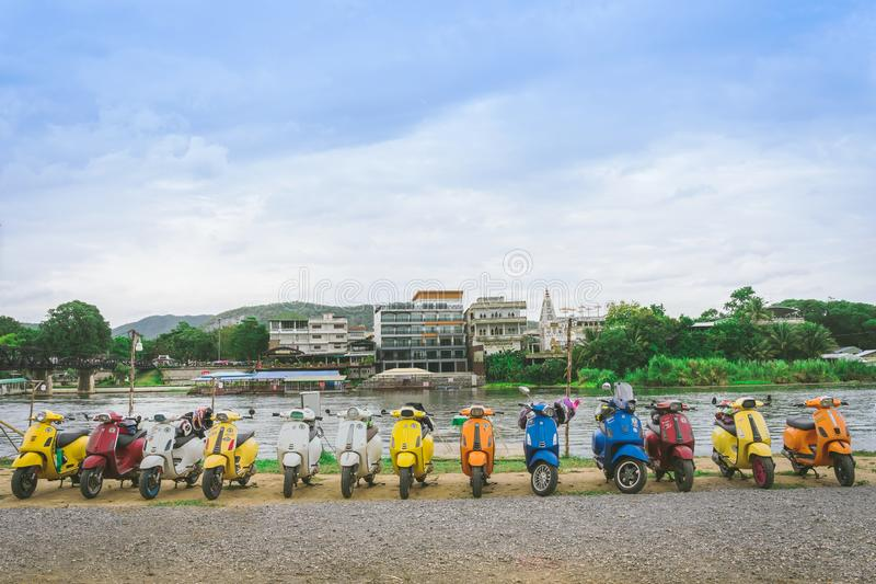 KANCHANABURI, THAILAND - August 4, 2019 : Vespa gang were parking in the line for meeting and gethering after touring together at stock photo