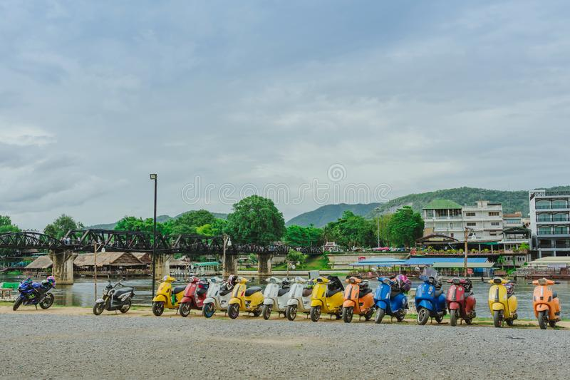 KANCHANABURI, THAILAND - August 4, 2019 : Vespa gang were parking in the line for meeting and gethering after touring together at royalty free stock image