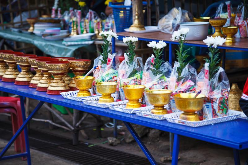 Kanchanaburi, Thailand - December 30, 2018: Alms prepared for Almsgiving food offerings to Buddhist monks going on daily alms stock photos