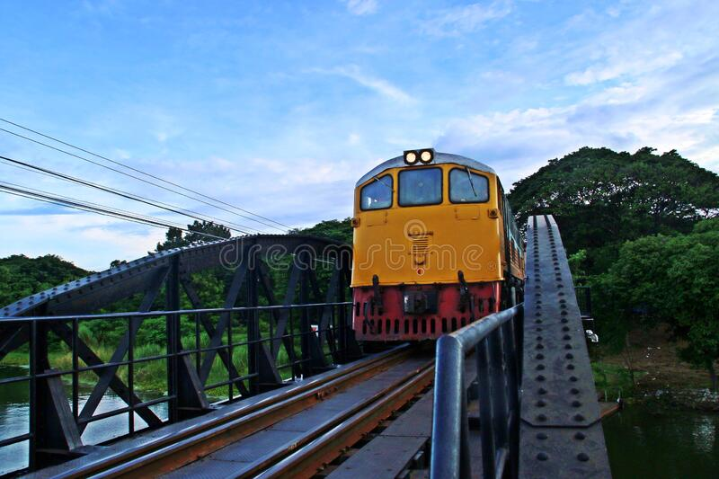 Train over the river Kwai. royalty free stock images