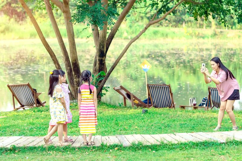 KANCHANABURI THAILAND - JANUARY 11 :   Unidentified People come to visit and relax to take pictures on January 11,2020 at Mulberry stock photo