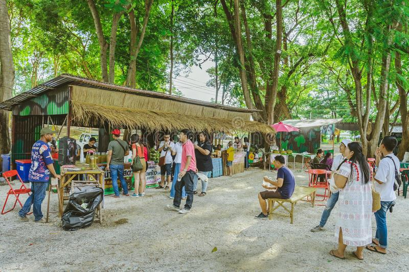 KANCHANABURI THAILAND-JULY 16,2019 : Handicrafts, homemade food, cotton clothes and more from local producers come to forming. Community and setting local stock image
