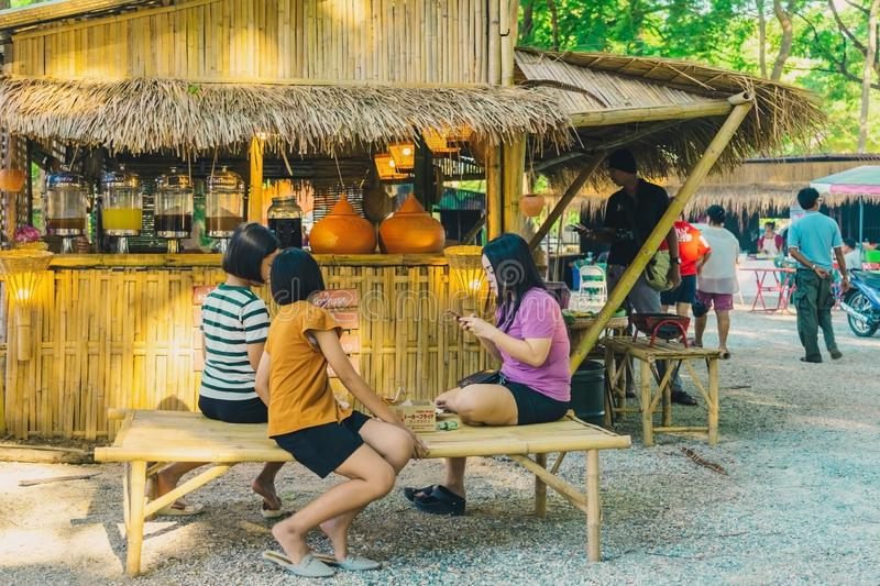 KANCHANABURI THAILAND-JULY 16,2019 : Handicrafts, homemade food, cotton clothes and more from local producers come to forming. Community and setting local stock photography