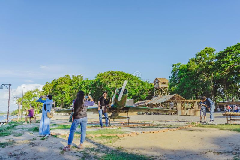 KANCHANABURI THAILAND-JULY 16,2019 : Unidentified tourists come to visit and take pictures at  World War ll Bridge Project near stock photography