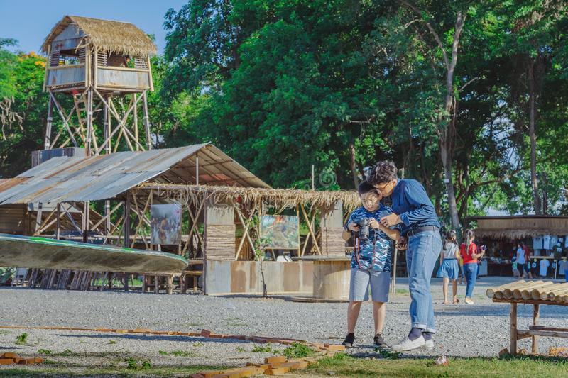 KANCHANABURI THAILAND-JULY 16,2019 : Unidentified tourists come to visit and take pictures at  World War ll Bridge Project near royalty free stock photos
