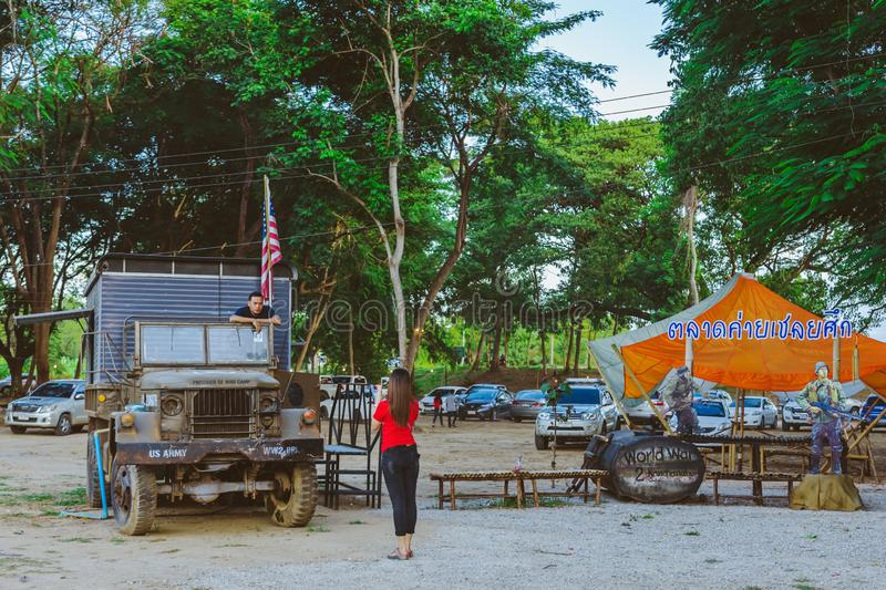 KANCHANABURI THAILAND-JULY 16,2019 : Unidentified tourists come to visit and take pictures at  World War ll Bridge Project near stock images
