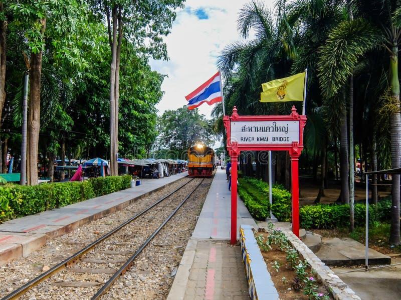 Kanchanaburi, Thailand - July  22, 2014: View of train coming to River Kwai train station in Kanchanaburi, Thailand royalty free stock photo