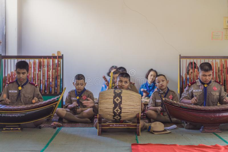 KANCHANABURI THAILAND - JUNE 13 : Unidentified Boy scouts and R stock photo