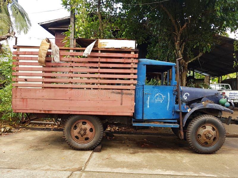 KANCHANABURI, THAILAND - NOVEMBER 25: very old Burmese truck in. Sangkhla Buri on November 25, 2016 in Kanchanaburi, Thailand stock photos
