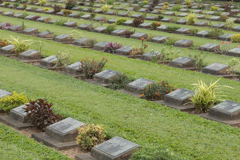 Kanchanaburi war cemetery, where thousands of Allied POWs who died on the notorious Thailand to Burma death railway are buried. royalty free stock image